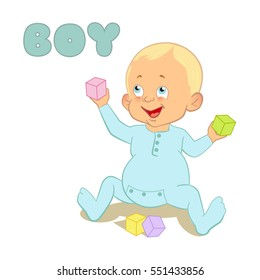Cute Cartoon Baby boy playing with blocks.