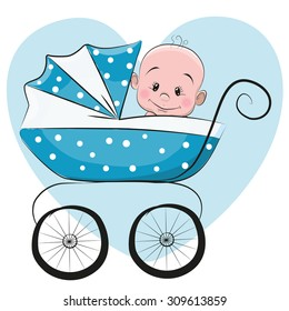 Cute Cartoon Baby boy is sitting on a carriage on a heart background