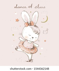 Cute  cartoon baby bunny,hare  ballerina. hand drawn vector illustration. Can be used for baby t-shirt print, fashion print design, kids wear, baby shower celebration greeting and invitation card.