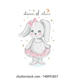 Cute  cartoon baby bunny,hare ballet dancer. hand drawn vector illustration. Can be used for baby t-shirt print, fashion print design, kids wear, baby shower celebration greeting and invitation card.