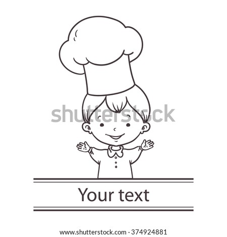 Cute Cartoon Baby Chef Vector Line Stock Vector Royalty Free