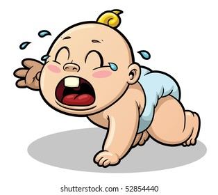Cute cartoon baby crying. Baby and shadow on separate layers for easy editing.