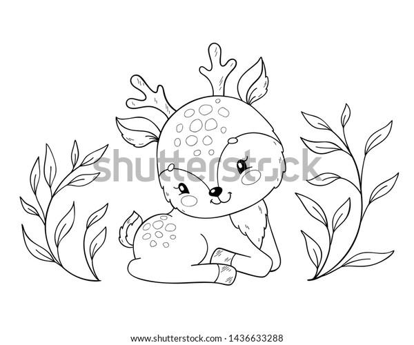 Cute Cartoon Baby Deer Coloring Book Stock Vector Royalty Free 1436633288