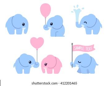 Cute cartoon baby elephant set. Adorable little elephants, greeting cards design elements.