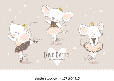 Cute cartoon baby mouse ballerina collection. Little mice princess dancing characters. Hand drawn doodle icons design vector illustration.