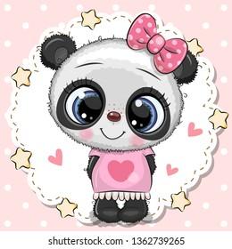Cute cartoon Baby Panda girl with pink bow
