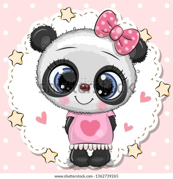 Image Vectorielle De Stock De Joli Dessin Animé Bébé Panda