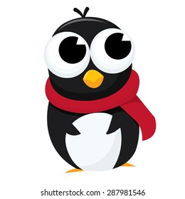 Cute cartoon baby penguin with a red scarf vector illustration.