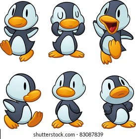 Cute cartoon baby penguins. Vector illustration with simple gradients. All in separate layers for easy editing.