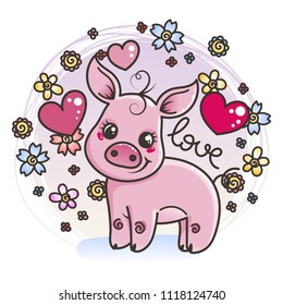 Cute cartoon baby pig on a flower background in love. Vector illustration