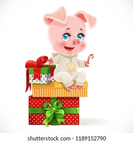 Cute cartoon baby pig sit on Christmas gifts isolated on a white background