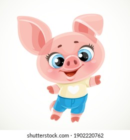 Cute cartoon baby piglet isolated on a white background