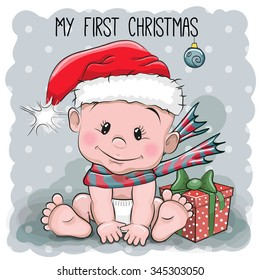 Cute Cartoon Baby in a Santa hat on a gray background