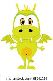 Cute cartoon baby vector dragon.