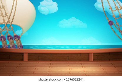 Cute cartoon background - pirate ship deck. Vector illustration.