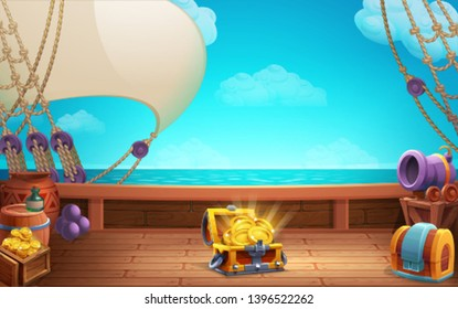 Cute cartoon background - treasure chest with golden coins on the ship deck. Vector illustration.