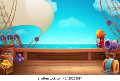 Cute cartoon background - treasure chest and parrot on the ship deck. Vector illustration.