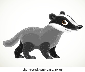 Cute cartoon badger isolated on a white background