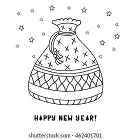 Cute Cartoon Bag With Presents Isolated On White Background Greeting Card Happy New Year