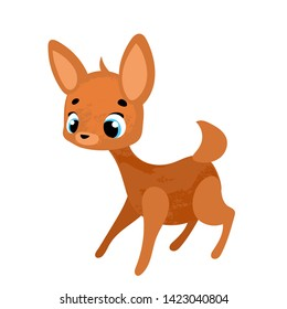 Cute cartoon bambi. Vector illustration in children's style, for children's books, posters, stickers or room decor