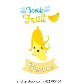 Cute Cartoon Of Banana Fruit, Banner, Logo, Tropical, Characters Design, Summer, Healthy Eating, Food, Juice