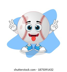 Cute Cartoon Baseball with Tongue Out Face, Nice Design For Character Theme