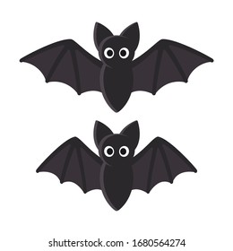 Cute cartoon bat illustration. Flying bat with spread and folded wings, flight animation. Funny Halloween symbol clip art.