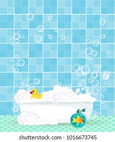 Cute cartoon bathroom interior with bathtub full of foam, soap bubbles,  bottle of shampoo, rubber duck on blue tiled background. Vector illustration, template with space for text. Bathtub with toys.