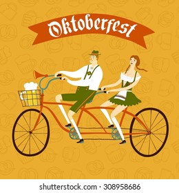 Cute cartoon Bavarian man and woman with beer on tandem bicycle, Oktoberfest illustration for your design.