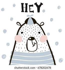 Cute cartoon bear boy in scandinavian style. Childish print for nursery, kids apparel,poster, postcard. Vector Illustration