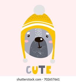 Cute cartoon bear boy in winter hat. Childish print for nursery, kids apparel,poster, postcard. Vector Illustration