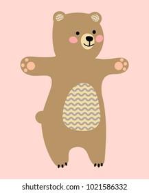 Cute cartoon bear. Flat style. Vector isolated illustration