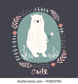 Cute cartoon bear in floral wreath. Childish hand drawn print for nursery, kids apparel,poster, postcard. Vector Illustration