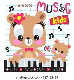 Cute cartoon bear girl and her brother playing piano together on square grid background illustration vector.