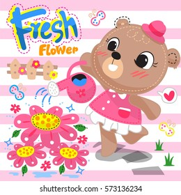 Cute cartoon bear girl watering flower in the garden on pink striped background illustration vector.