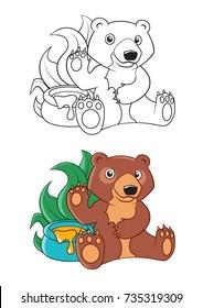 Cute Cartoon Bear with a Honeypot Coloring Book Vector