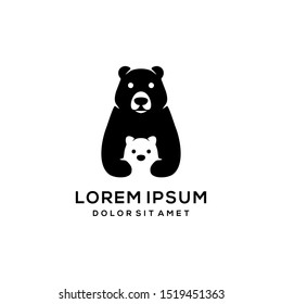 cute cartoon of bear mom and baby bear in black and white logo icon vector illustration