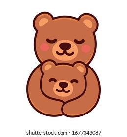 Cute cartoon bear mom hugging baby cub, sweet brown bears family drawing. Simple vector clip art illustration, kawaii mascot or logo.