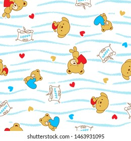 Cute cartoon bear pattern images, hearts and horizontal lines as background