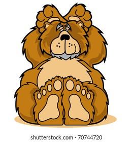 Cute cartoon bear relaxing clip art in vector format