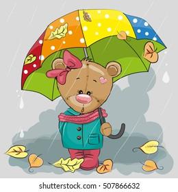 Cute cartoon bear with umbrella under the rain