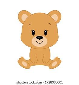 Cute cartoon bear. Vector illustration.