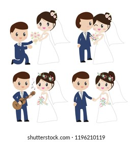 cute cartoon beautiful bride and groom couples in wedding dress holding hands on white  background isolated EPS10 vector illustration