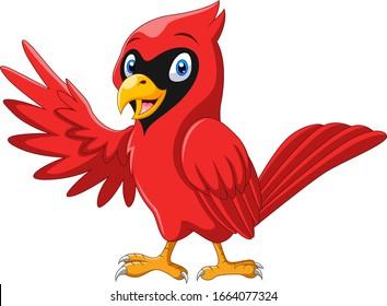Cute cartoon beautiful cardinal bird waving
