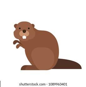 ddec831e4a6 cute cartoon beaver in flat style on white background