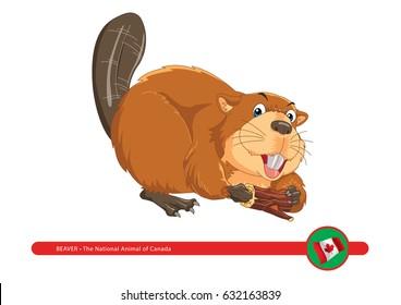 Cute cartoon beaver holding wood