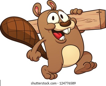 Cute cartoon beaver holding a wooden plank.Vector clip art illustration with simple gradients. All in a single layer.