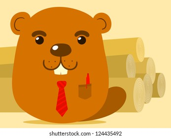 Cute cartoon beaver salesman in simple caricature style suitable for kids standing in front of a large pile of felled tree trunks or logs that he is selling, eps8 vector illustration