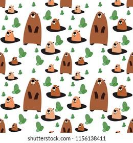 cute cartoon beaver, seamless pattern on white background