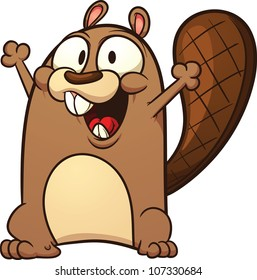 Cute cartoon beaver. Vector illustration with simple gradients. All in a single layer.
